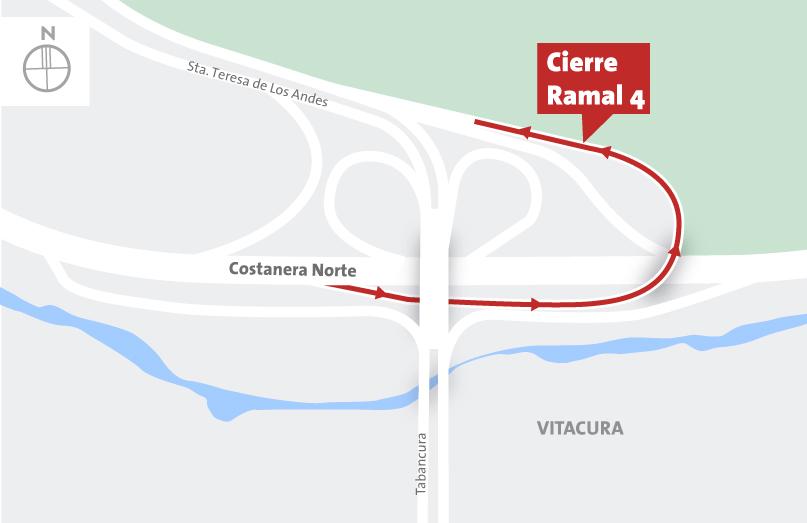 Cierre salida 3b, Ramal 4 Santa Teresa