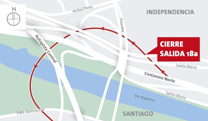 Cierre Salida 18a (túnel enlace Ruta 5 Sur)